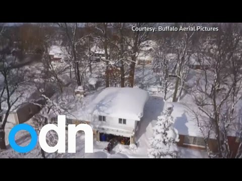 Incredible aerial footage shows snow blanketing Buffalo, New York
