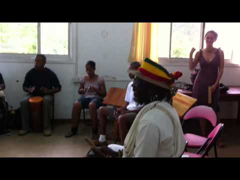 Drumming session with Seychellois musicians