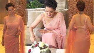 Kangana Ranaut H0T & B0LD Look In Saree On Her 32nd Birthday Celebration With Media