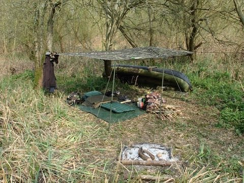 BUSHCRAFT CANOE WILD CAMP 2 Days On River, FULL SET UP, ROUTINE, Campfire, Activities.