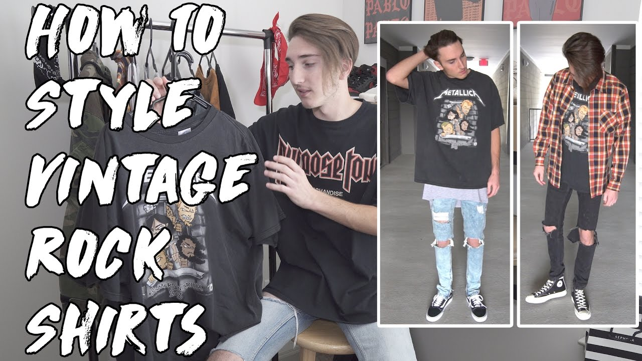 how to style vintage rock shirts youtube. Black Bedroom Furniture Sets. Home Design Ideas