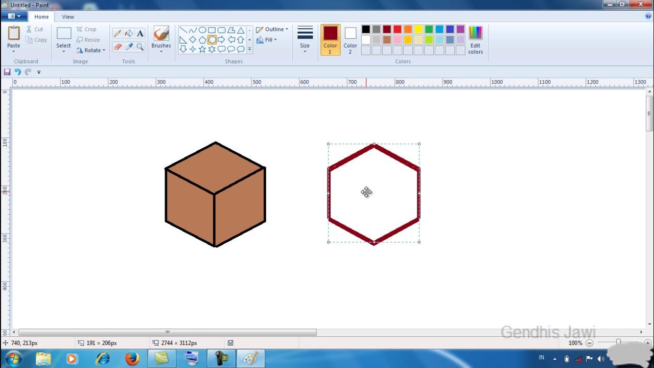 Cara membuat gambar kubus atau box dengan Paint - YouTube
