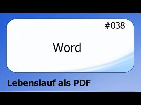 Word #038 Lebenslauf Als PDF Datei [deutsch]