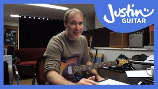 JustinGuitar doing some  live blues jamming practice with Jam Blues 4 Backing Tracks
