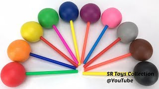 Learn Colors and Numbers with Play Doh Lollipops with Fruits & Vegetables Cookie Molds
