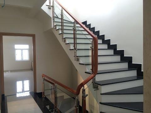 Kho tư liệu Xây dựng - Cầu thang 3 vế rất đẹp, rộng rãi | Cầu thang có lang can kinh tay vị gỗ