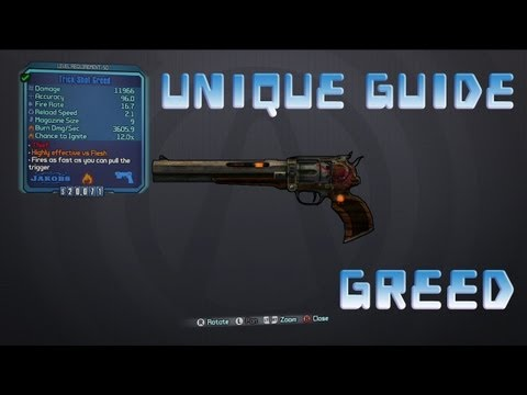 Borderlands 2 Unique Weapons: Greed