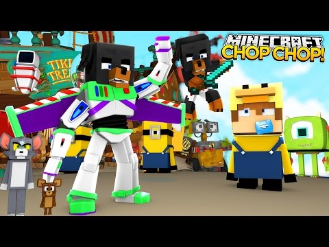 Minecraft CHOP CHOP - DONUT CHOPS UP BUZZ LIGHTYEAR & WOODY - donut the dog minecraft roleplay