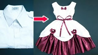 Fast conversion from a mens shirt to a stylish and simple baby dress