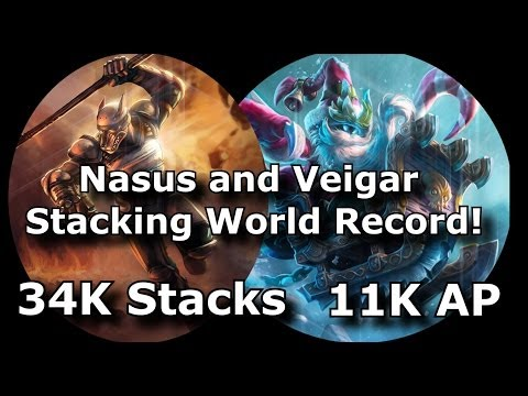 Highest Nasus Stacks 34K, Veigar 11k AP Record 900k Gold 20k CS 9 Hour Game | League of Legends