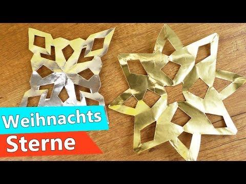 Weihnachts Sterne Basteln mit Kindern | Super einfache & schnelle Anleitung in silber & gold