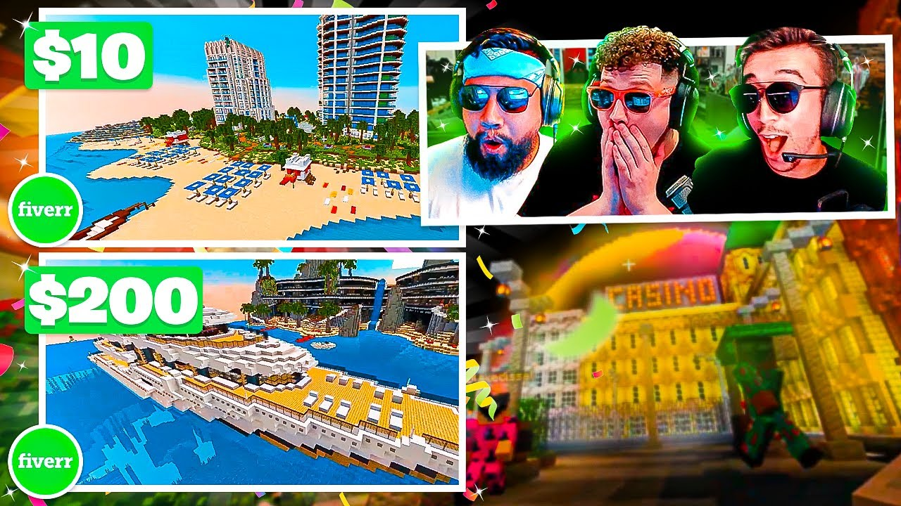 WE PAID people on FIVERR to BUILD A MINECRAFT MEGA BASE!! - Team Summertime