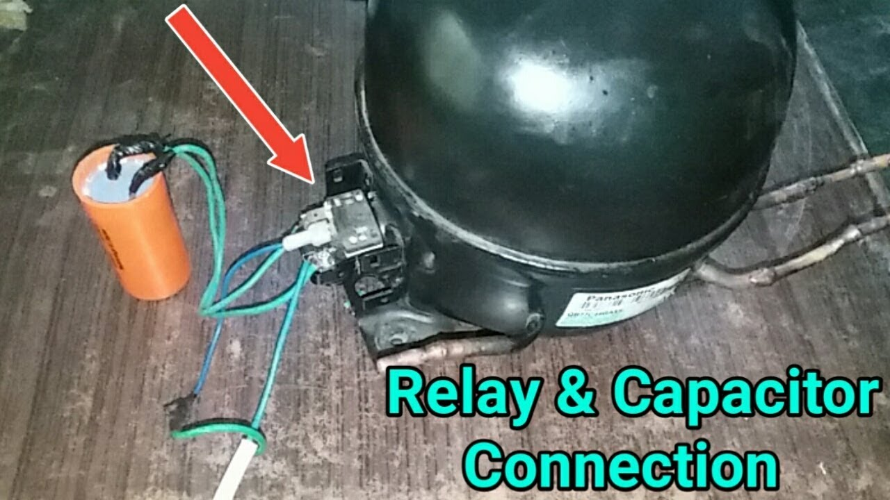 Compressor relay connection with capacitor in UrduHindi  YouTube
