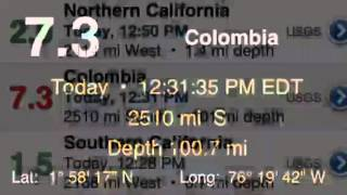 7.3 Earthquake Colombia