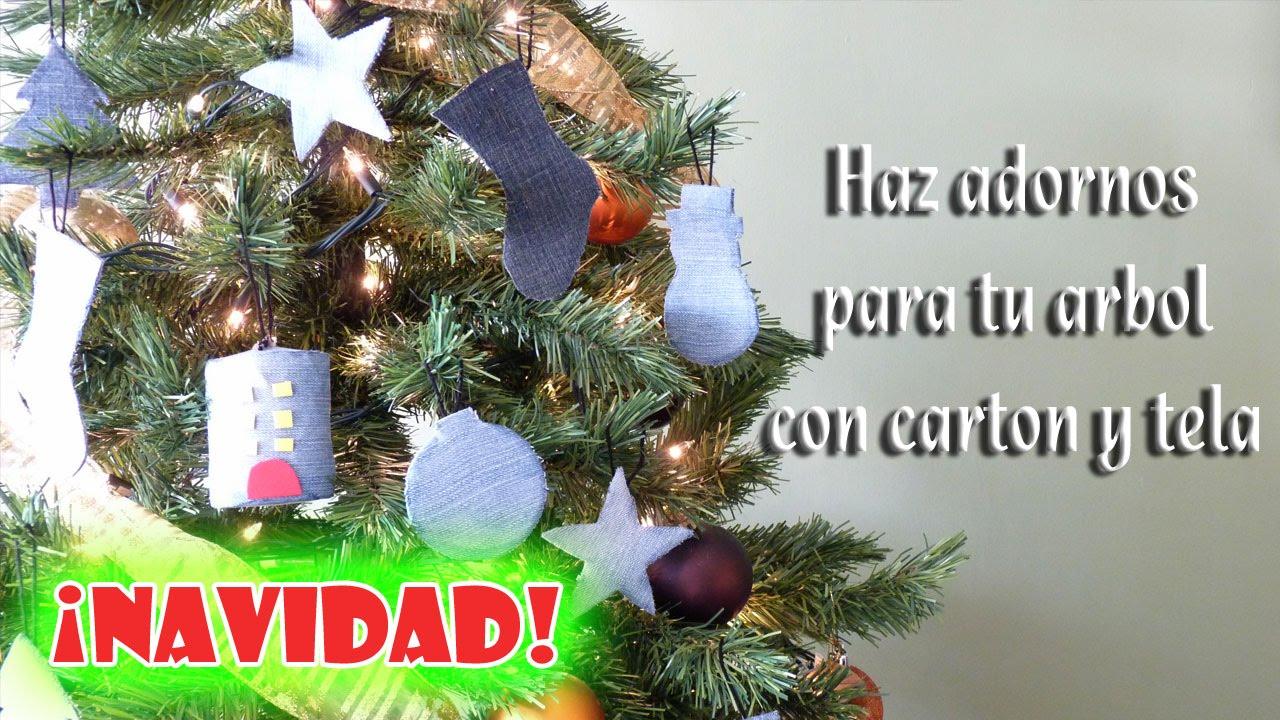como hacer adornos para el arbol de navidad con carton y tela youtube