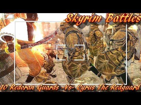 Skyrim Battles - 10 Redoran Guards vs Cyrus The Redguard [Legendary Settings]
