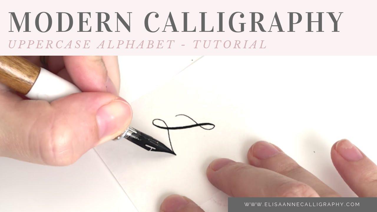 Modern calligraphy alphabet uppercase left handed