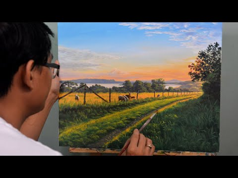 How To Paint Landscape In Acrylics | Sunrise In Animal Fields