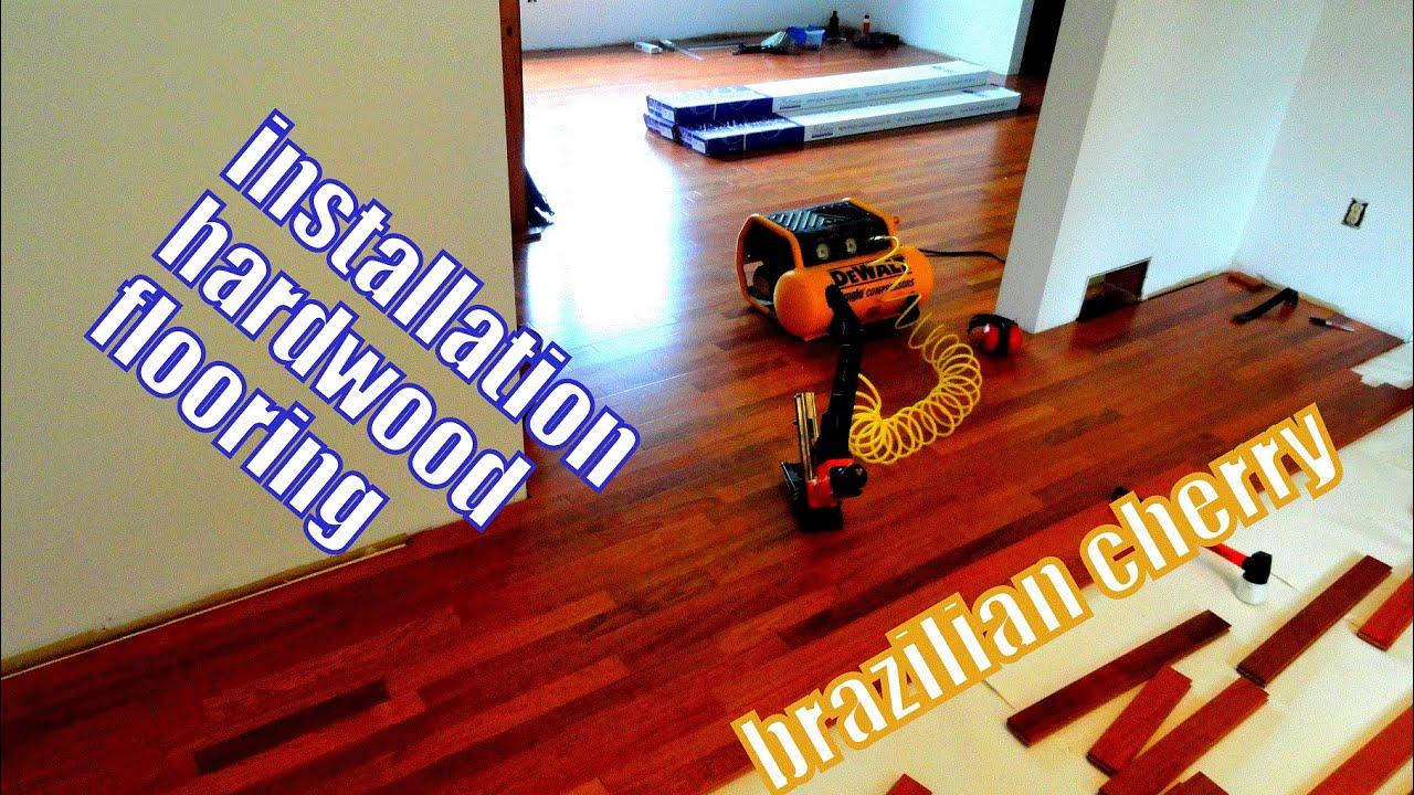 Installation Of Brazilian Cherry Hardwood Flooring In Seconds