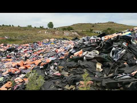 Lifejacket Graveyard in Lesvos/Lesbos Greece panorama