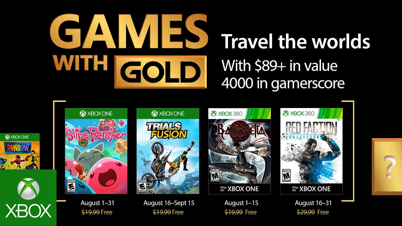 Xbox Games With Gold August 2020.Xbox August 2017 Games With Gold
