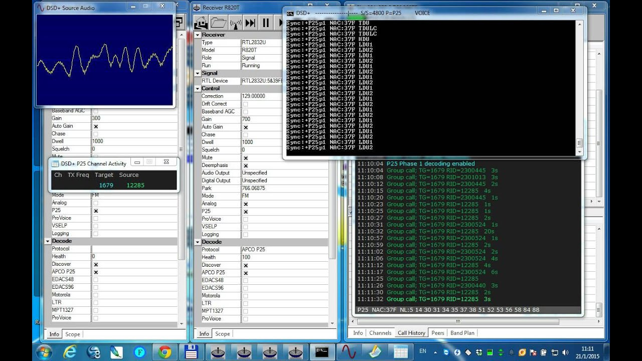 UniTrunker + DSD + VAC Decoding P25 with 2 R820T Receiver