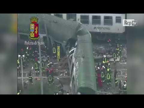 Treno deragliato a Pioltello, le riprese dall'elicottero della Polizia