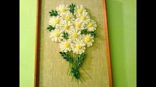 Цветы из атласных лент.Flowers from satin ribbons.