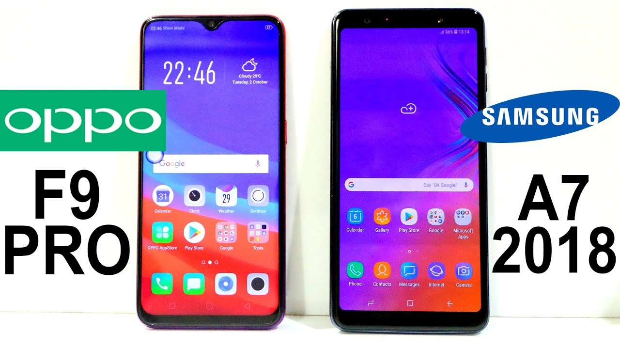 Samsung Galaxy A7 2018 Vs Oppo F9 Pro Speed Test Youtube