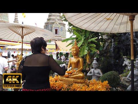 EP.79 [4k] walking tour Happy Songkran day 2021 festivals at Wat Pho , Bangkok, Thailand