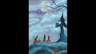 Art Journal Page-Good Night for a Spell-