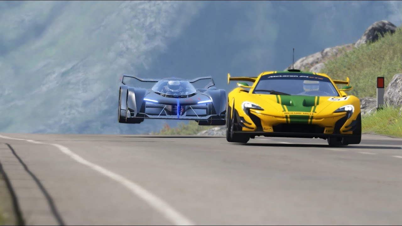 McLaren Ultimate Vision GT vs McLaren Cars & Ferrari Cars at Highlands