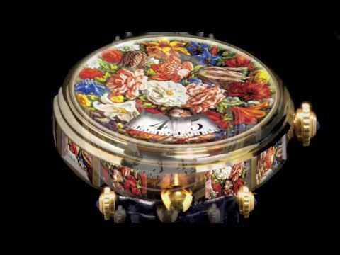 Miniature Painting Watch - Angular Momentum - Verre Èglomisé La Montre Baroque - Tulipomania