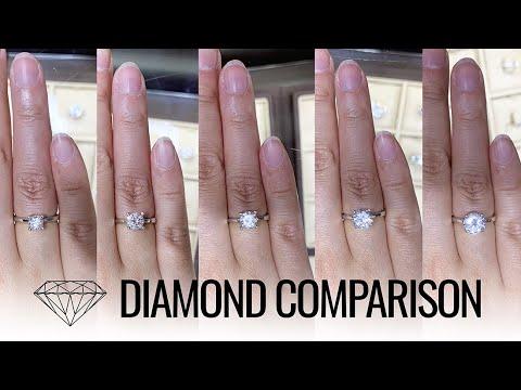 Diamond Size & Price Comparison (0.5, 0.75, 1, 1.5, 2 Carat Diamond Ring)