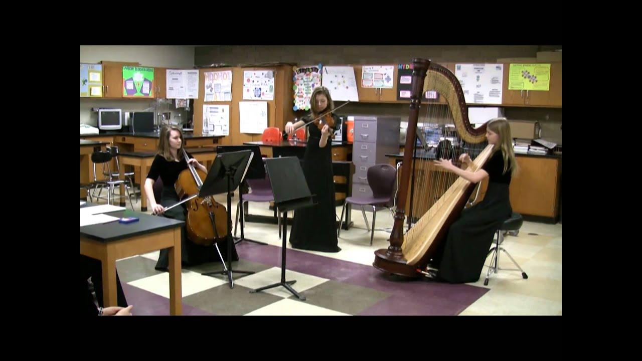 Violin Cello And Harp Perform Canon In D