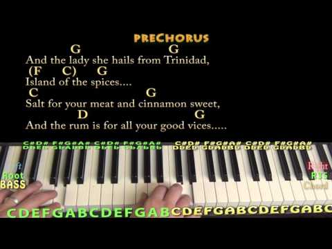 Son of a Sailor (Jimmy Buffett) Piano Chord Chart with On-Screen Lyrics/Chords