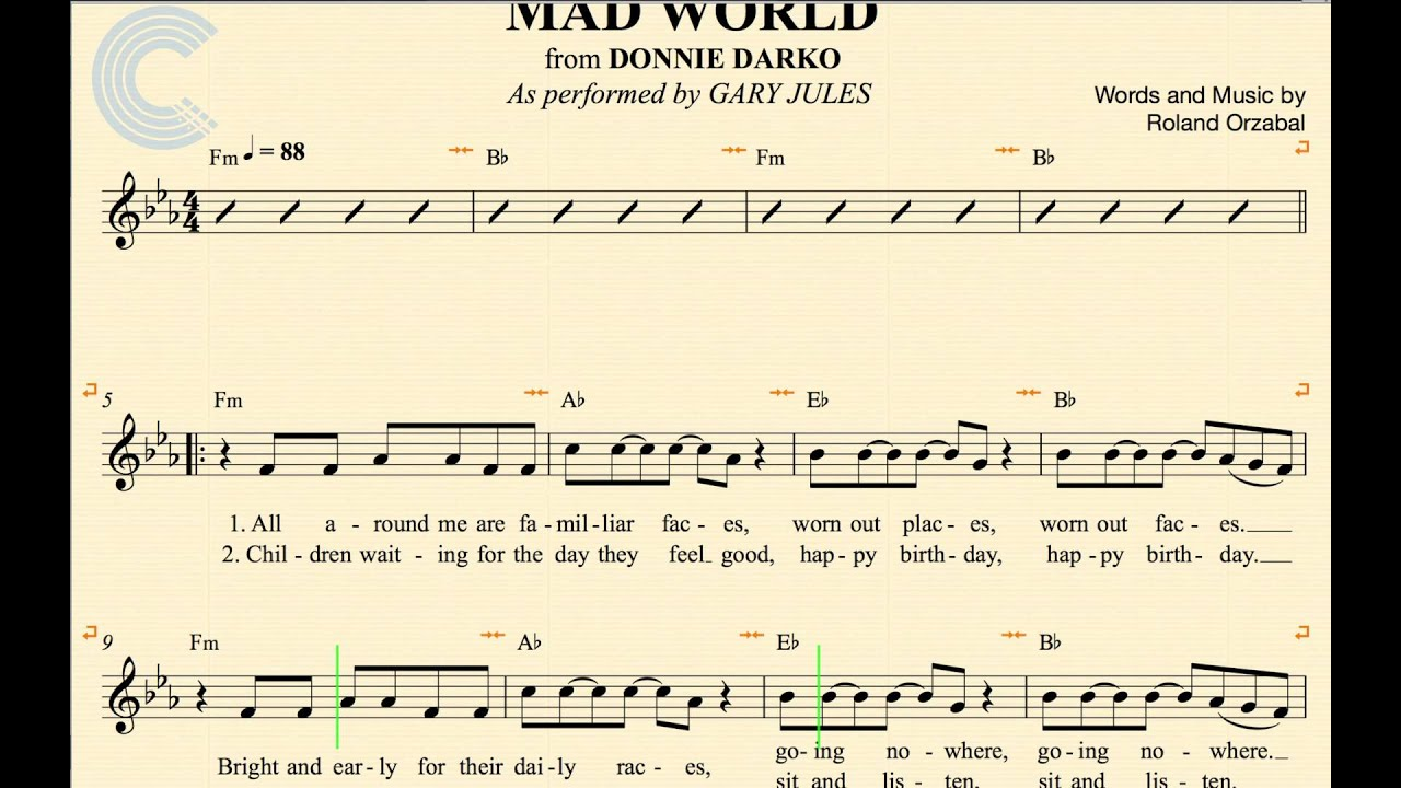 Vocal Mad World Gary Jules Donnie Darko Sheet Music Chords