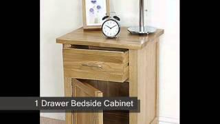 Boston Solid Oak 1 Drawer Bedside Cabinet