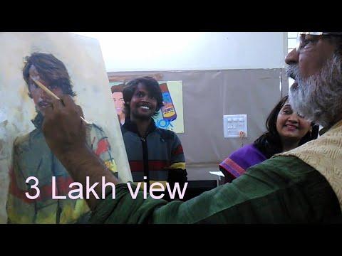 Artist vasudev kamat live portrait painting demo part - 1