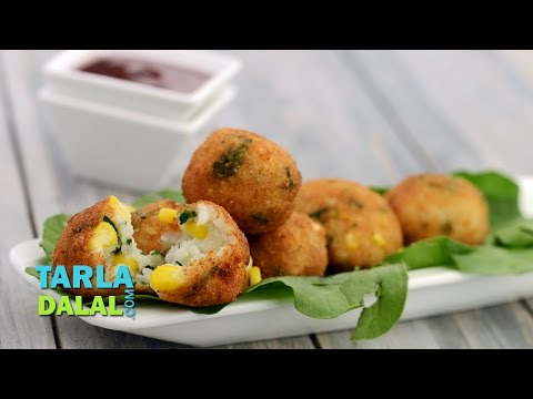 Corn, Spinach And Rice Balls By Tarla Dalal