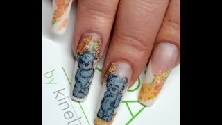 How to draw tatty teddy on nails, Water colour nail design Thumbnail