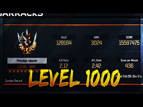 "GETTING ""LEVEL 1000"" in Black Ops 3! UNLOCKING Level 1000 Master Prestige! (BO3 Lvl 1000)"
