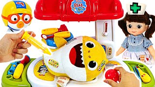 The Baby Shark hurts! Help the Baby shark ~ Dalim's play in the hospital!   PinkyPopTOY