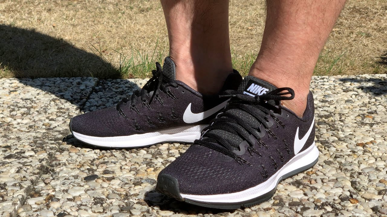 dc76f9b535c13 Nike Air Zoom Pegasus 33 Black Cool Grey Wolf Grey White On Feet 4K ...