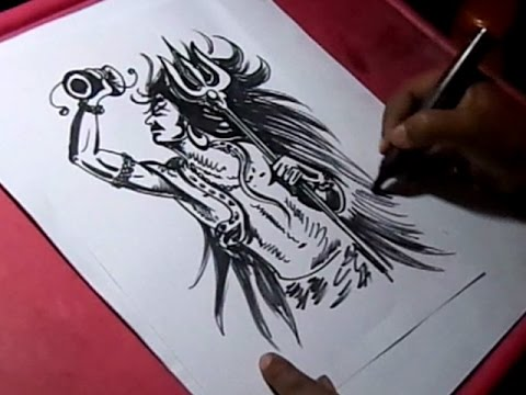 How To Draw Lord Shiva Black Sketch Drawing Youtube