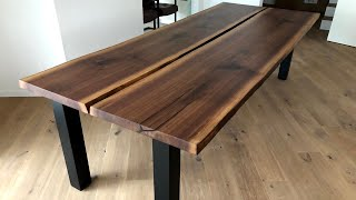 Large Split Live Edge Dining Table - Black Walnut