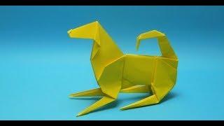 Как сделать собаку из бумаги. Оригами #собака