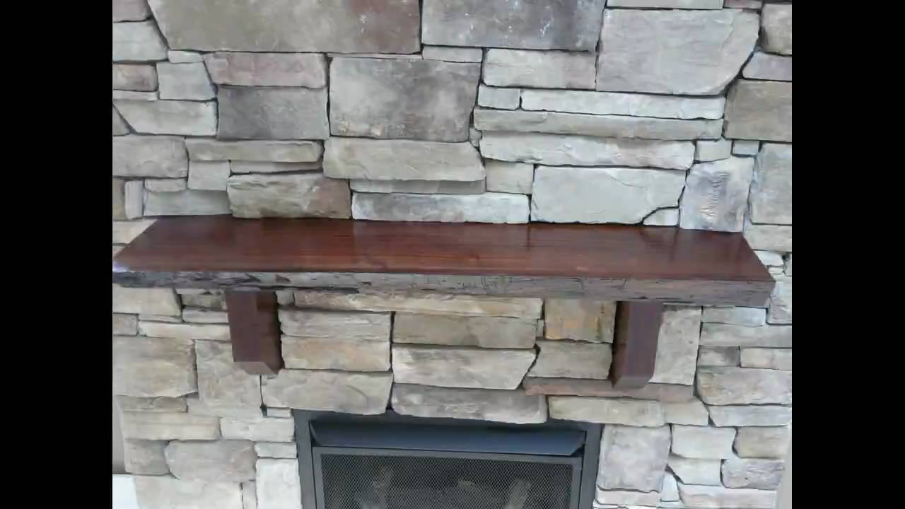 Stone fireplace Black walnut mantle - YouTube