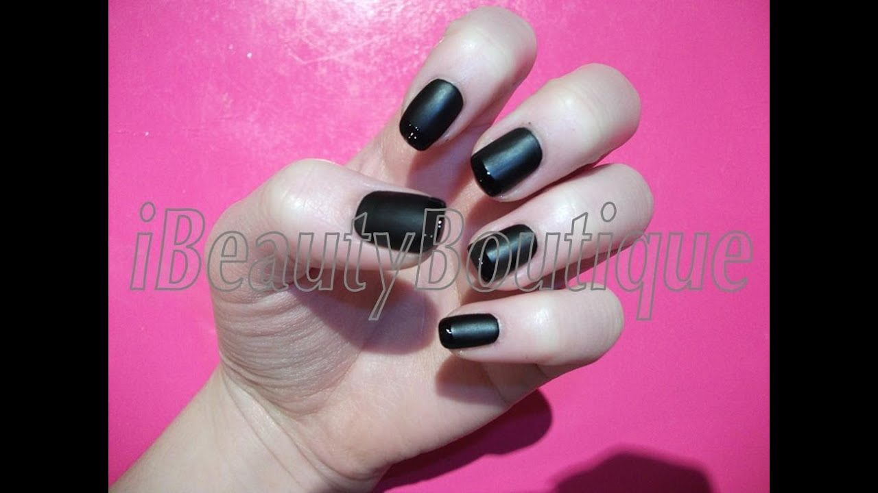 Matte Black With Glossy French Tip - Nail Art | iBeautyBoutique ...