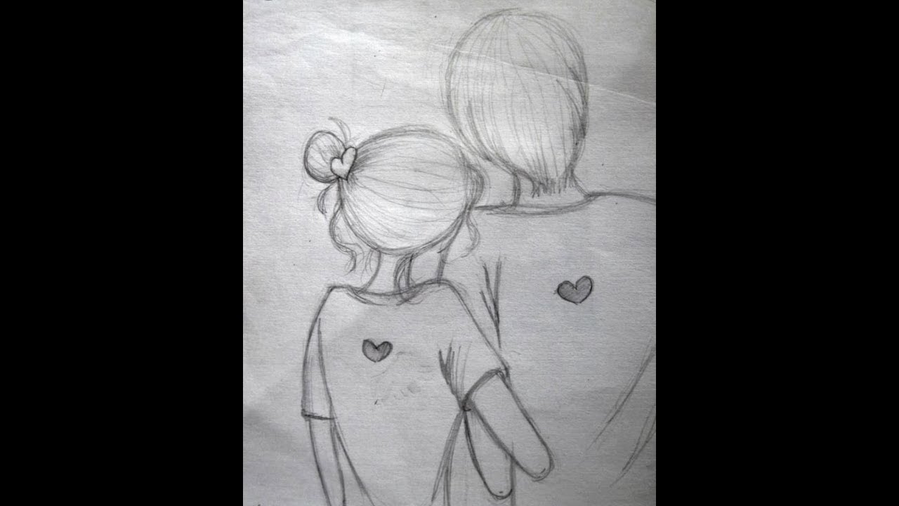 How to draw romantic couple scene pencil sketch easy drawing tutorial